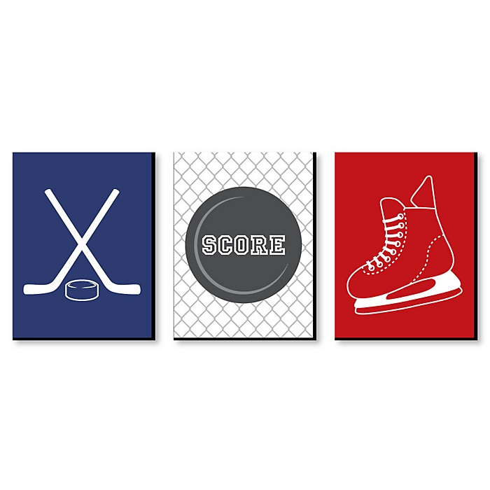 Shoots and Scores! - Hockey - Sports Themed Nursery Wall Art, Kids Room Decor and Game Room Home Decorations - 7.5 x 10 inches - Set of 3 Prints