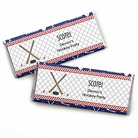 Shoots & Scores! - Hockey - Personalized Candy Bar Wrapper Baby Shower or Birthday Party Favors - Set of 24