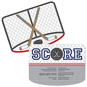 Shoots & Scores! - Hockey - Shaped Baby Shower Invitations - Set of 12