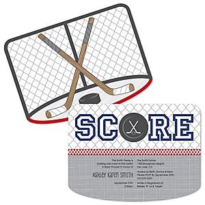 Shoots & Scores! - Hockey - Shaped Baby Shower Invitations