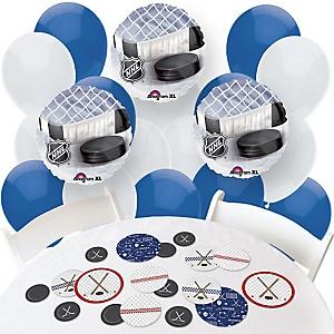 Shoots & Scores! - Hockey - Confetti and Balloon Party Decorations - Combo Kit