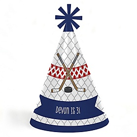 Shoots & Scores! - Hockey - Personalized Cone Happy Birthday Party Hats for Kids and Adults - Set of 8 (Standard Size)