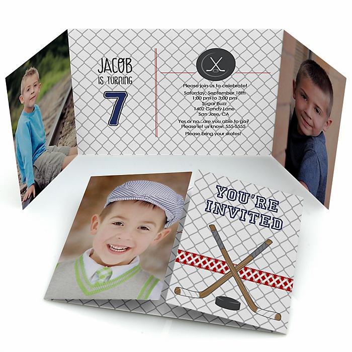 Shoots & Scores! - Hockey - Personalized Birthday Party Photo Invitations - Set of 12