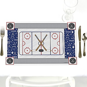 Shoots & Scores! - Hockey - Party Table Decorations - Party Placemats - Set of 12