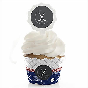 Shoots & Scores! - Hockey - Cupcake Wrapper & Pick Party Kit - Set of 24