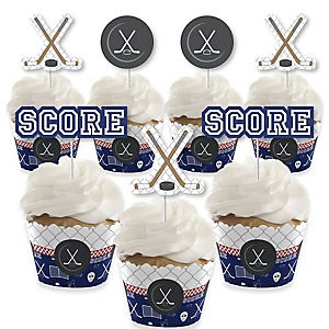 Shoots & Scores! - Hockey - Cupcake Decoration - Baby Shower or Birthday Party Cupcake Wrappers and Treat Picks Kit - Set of 24
