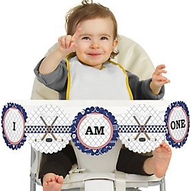 Shoots & Scores! - Hockey 1st Birthday - I am One - First Birthday High Chair Banner