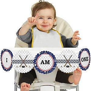 Shoots & Scores! - Hockey 1st Birthday - I am One - First Birthday High Chair Banner