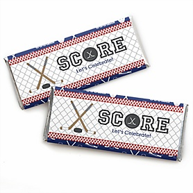 Shoots & Scores! - Hockey -  Candy Bar Wrapper Baby Shower or Birthday Party Favors - Set of 24