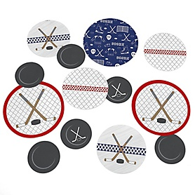 Shoots & Scores! - Hockey - Baby Shower or Birthday Party Giant Circle Confetti - Hockey Party Decorations - Large Confetti 27 Count
