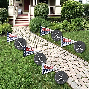 Shoot & Scores! - Hockey - Lawn Decorations - Outdoor Baby Shower or Birthday Party Yard Decorations - 10 Piece