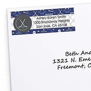 Shoots & Scores! - Hockey - Personalized Party Return Address Labels - 30 ct