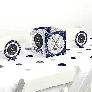 Shoots & Scores! - Hockey - Baby Shower or Birthday Party Centerpiece and Table Decoration Kit