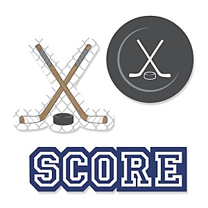 Shoots & Scores! - Hockey - Shaped Party Paper Cut-Outs - 24 ct