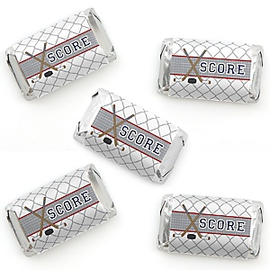 Shoots & Scores! - Hockey - Mini Candy Bar Wrapper Stickers - Baby Shower or Birthday Party Small Favors - 40 Count