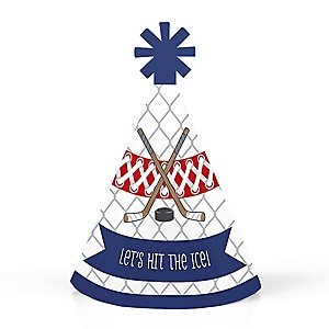 Shoots & Scores! - Hockey - Personalized Mini Cone Baby Shower or Birthday Party Hats - Small Little Party Hats - Set of 10