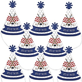 Shoots & Scores! - Hockey - Mini Cone Baby Shower or Birthday Party Hats - Small Little Party Hats - Set of 8