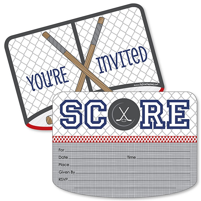 Shoots & Scores! - Hockey - Shaped Fill-In Invitations - Baby Shower or Birthday Party Invitation Cards with Envelopes - Set of 12