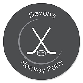 Shoots & Scores! - Hockey - Personalized Party Sticker Labels - 24 ct
