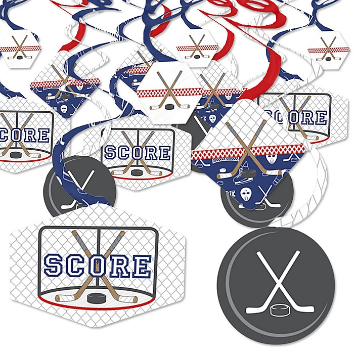 Shoots & Scores! - Hockey - Baby Shower or Birthday Party Hanging Decor - Party Decoration Swirls - Set of 40