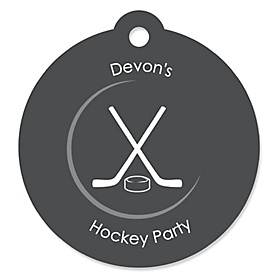 Shoots & Scores! - Hockey - Round Personalized Party Tags - 20 ct