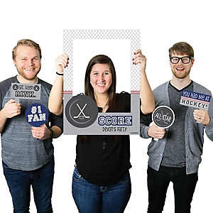 Shoots & Scores - Hockey - Personalized Birthday Party or Baby Shower Selfie Photo Booth Picture Frame & Props - Printed on Sturdy Material