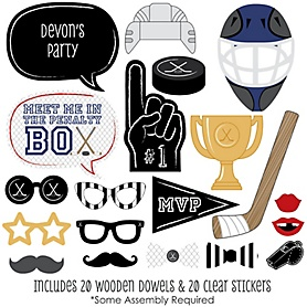 Shoots & Scores! - Hockey - 20 Piece Photo Booth Props Kit