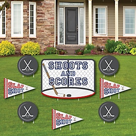 Shoots & Scores! - Hockey - Yard Sign & Outdoor Lawn Decorations - Baby Shower or Birthday Party Yard Signs - Set of 8