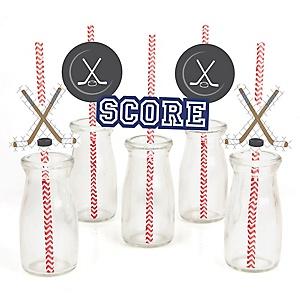 Shoots & Scores! - Hockey - Paper Straw Decor - Baby Shower or Birthday Party Striped Decorative Straws - Set of 24