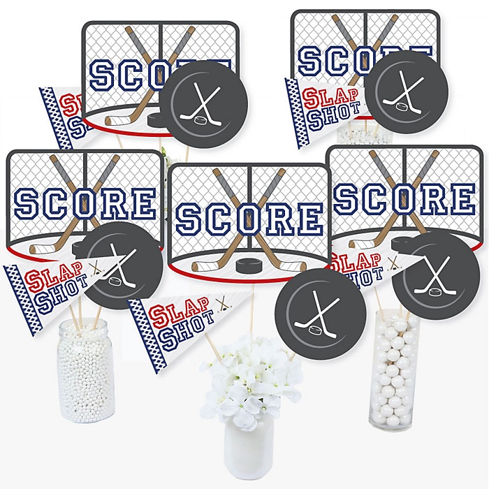 Shoots & Scores! - Hockey - Baby Shower or Birthday Party Centerpiece Sticks - Table Toppers - Set of 15