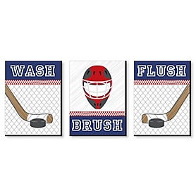 Shoots & Scores! - Hockey - Kids Bathroom Rules Wall Art - 7.5 x 10 inches - Set of 3 Signs - Wash, Brush, Flush