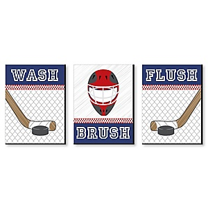 "Shoots & Scores! - Hockey - Kids Bathroom Rules Wall Art - 7.5"" x 10"" - Set of 3 Signs - Wash, Brush, Flush"