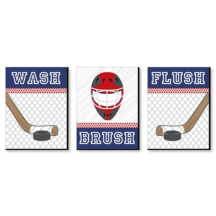 Shoots & Scores! - Hockey - Kids Bathroom Rules Wall Art - 7.5 x 10 inches - Set of 3 Signs - Wash, Brush, Flush