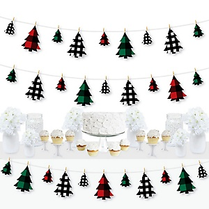 Holiday Plaid Trees - Buffalo Plaid Christmas Party DIY Decorations - Clothespin Garland Banner - 44 Pieces