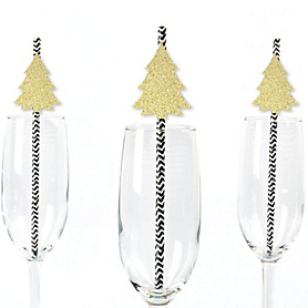 Gold Glitter Christmas Tree Party Straws - No-Mess Real Gold Glitter Cut-Outs and Decorative Holiday Party Paper Straws - Set of 24
