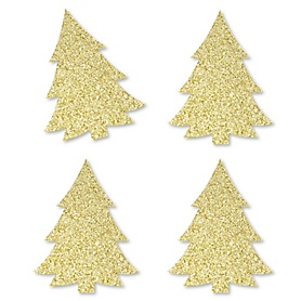 Gold Glitter Christmas Tree - No-Mess Real Gold Glitter Cut-Outs - Holiday Party Confetti - Set of 24