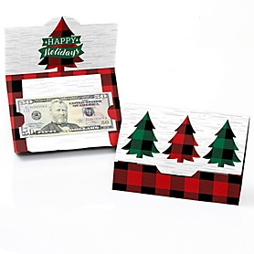 Holiday Plaid Trees - Set of 8 Buffalo Plaid Christmas Party Money And Gift Card Holders