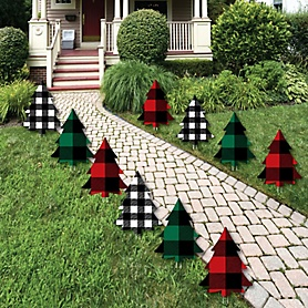 Holiday Plaid Trees - Sweater Lawn Decorations - Outdoor Buffalo Plaid Christmas Party Yard Decorations - 10 Piece