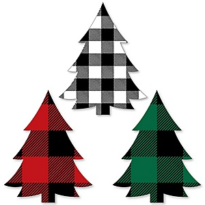 Holiday Plaid Trees - 24 DIY Shaped Buffalo Plaid Christmas Party Cut-Outs