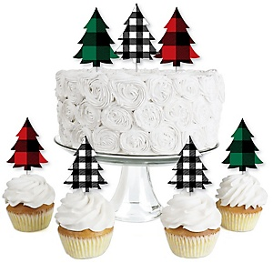 Holiday Plaid Trees - Dessert Cupcake Toppers - Buffalo Plaid Christmas Party Clear Treat Picks - Set of 24