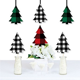 Holiday Plaid Trees - Sweater Decorations DIY Buffalo Plaid Christmas Party Essentials - Set of 20
