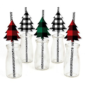 Holiday Plaid Trees - Paper Straw Decor - Buffalo Plaid Christmas Party Striped Decorative Straws - Set of 24