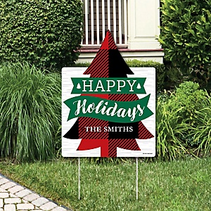 Holiday Plaid Trees - Party Decorations - Buffalo Plaid Christmas Party Personalized Welcome Yard Sign
