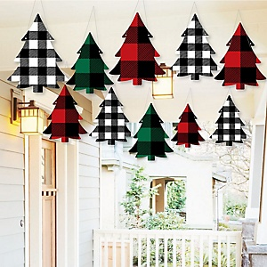 Hanging Holiday Plaid Trees - Outdoor Buffalo Plaid Christmas Party Hanging Porch & Tree Yard Decorations - 10 Pieces