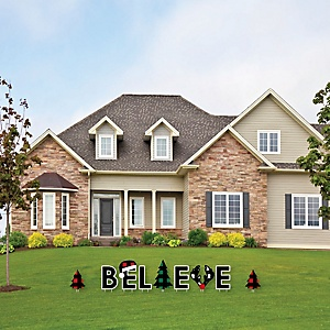 Holiday Plaid Trees - Yard Sign Outdoor Lawn Decorations - Buffalo Plaid Christmas Party Yard Signs - Believe