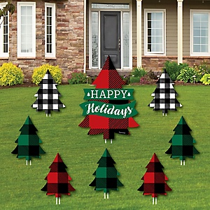 Holiday Plaid Trees - Yard Sign & Outdoor Lawn Decorations - Buffalo Plaid Christmas Party Yard Signs - Set of 8