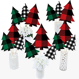 Holiday Plaid Trees - Buffalo Plaid Christmas Party Centerpiece Sticks - Table Toppers - Set of 15