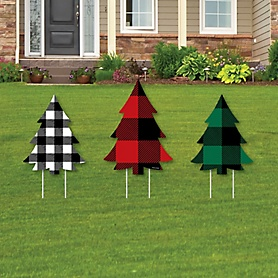 Holiday Plaid Trees - Outdoor Lawn Sign Decorations with Stakes - Buffalo Plaid Christmas Party Yard Display - 3 Piece