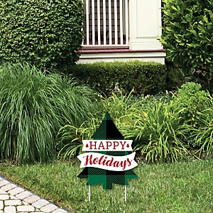 Holiday Plaid Trees - Happy Holidays Outdoor Lawn Sign - Buffalo Plaid Christmas Party Yard Sign - 1 Piece