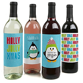 Holly Jolly Penguin - Holiday & Christmas Party Decorations for Women and Men - Wine Bottle Label Stickers - Set of 4
